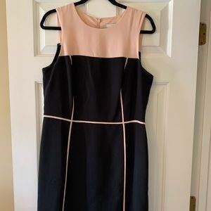 Loft mid length blush and black dress.